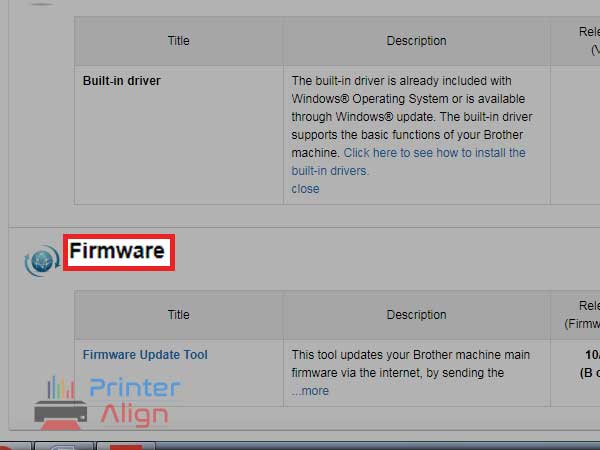 correct and latest driver and firmware for your Brother printer