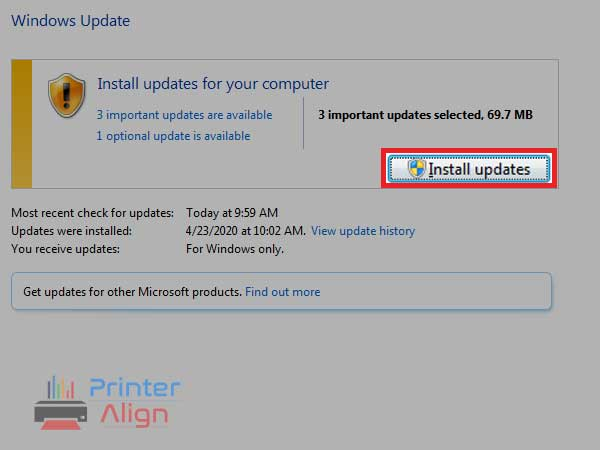 Click on the option'Install Updates',