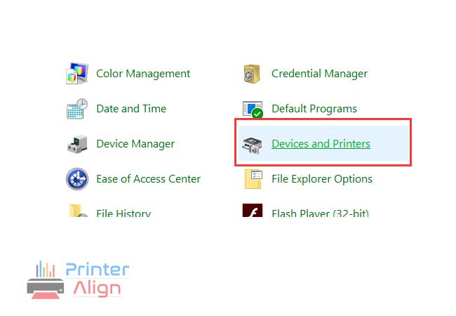 Select'Devices and Printers'