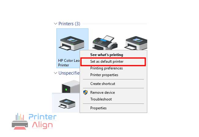 select'Set as default printer'