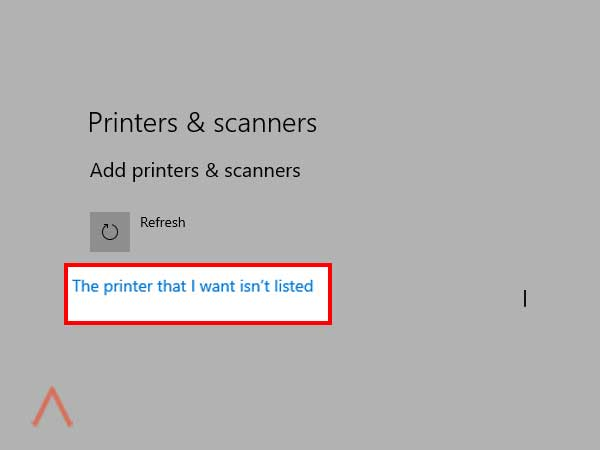 click on the option 'The printer that I want isn't listed'