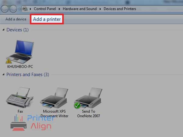 Click on'Add a printer'