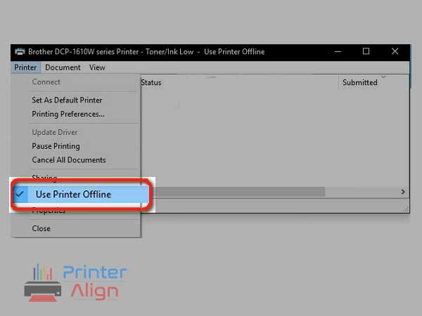 uncheck the option'Use Printer Offline'