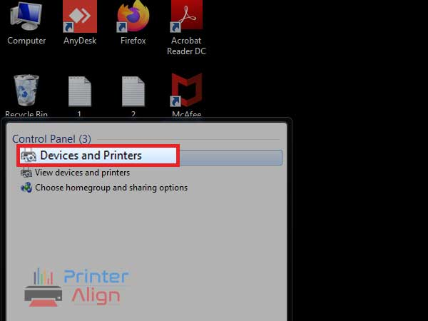 Select the'Devices and Printers'